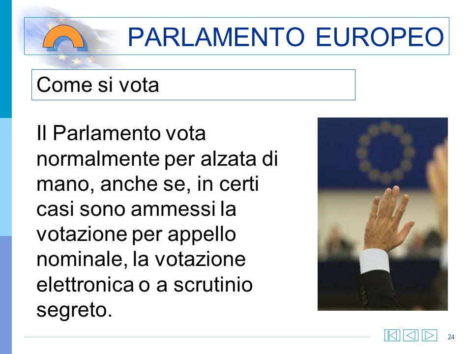 24 Come si vota PARLAMENTO EUROPEO Il Parlamento vota normalmente per alzata di mano, anche se, in certi casi sono ammessi la votazione per appello no