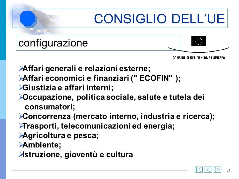 34 CONSIGLIO DELLUE configurazione Affari generali e relazioni esterne; Affari economici e finanziari (