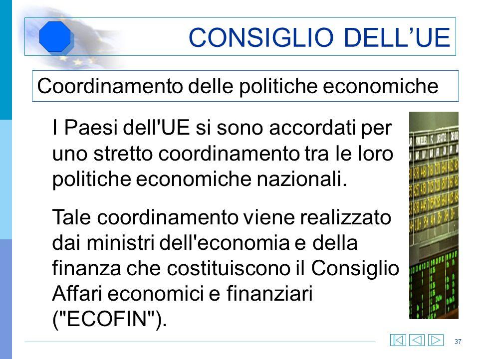 37 CONSIGLIO DELLUE Coordinamento delle politiche economiche I Paesi dell'UE si sono accordati per uno stretto coordinamento tra le loro politiche eco