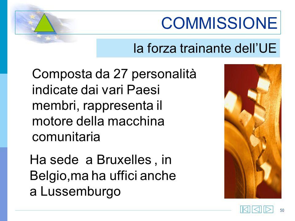 50 COMMISSIONE la forza trainante dellUE Composta da 27 personalità indicate dai vari Paesi membri, rappresenta il motore della macchina comunitaria H