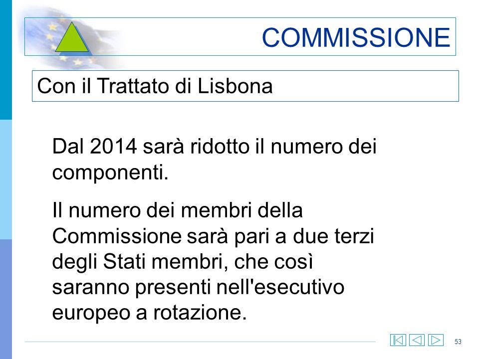 53 COMMISSIONE Dal 2014 sarà ridotto il numero dei componenti. Il numero dei membri della Commissione sarà pari a due terzi degli Stati membri, che co