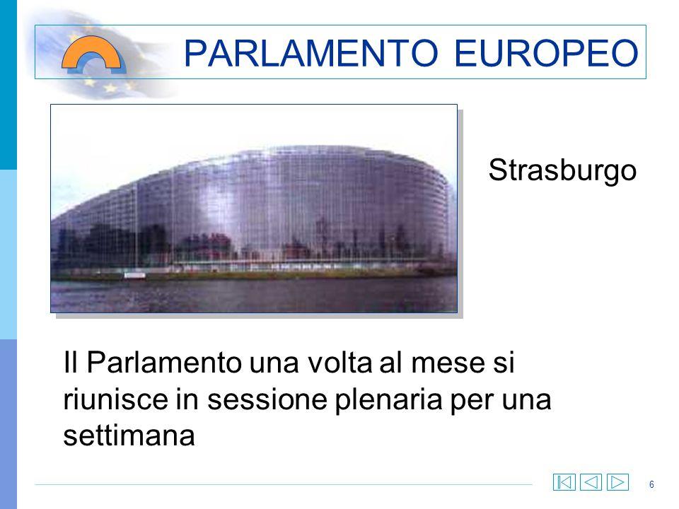 6 PARLAMENTO EUROPEO Strasburgo Il Parlamento una volta al mese si riunisce in sessione plenaria per una settimana