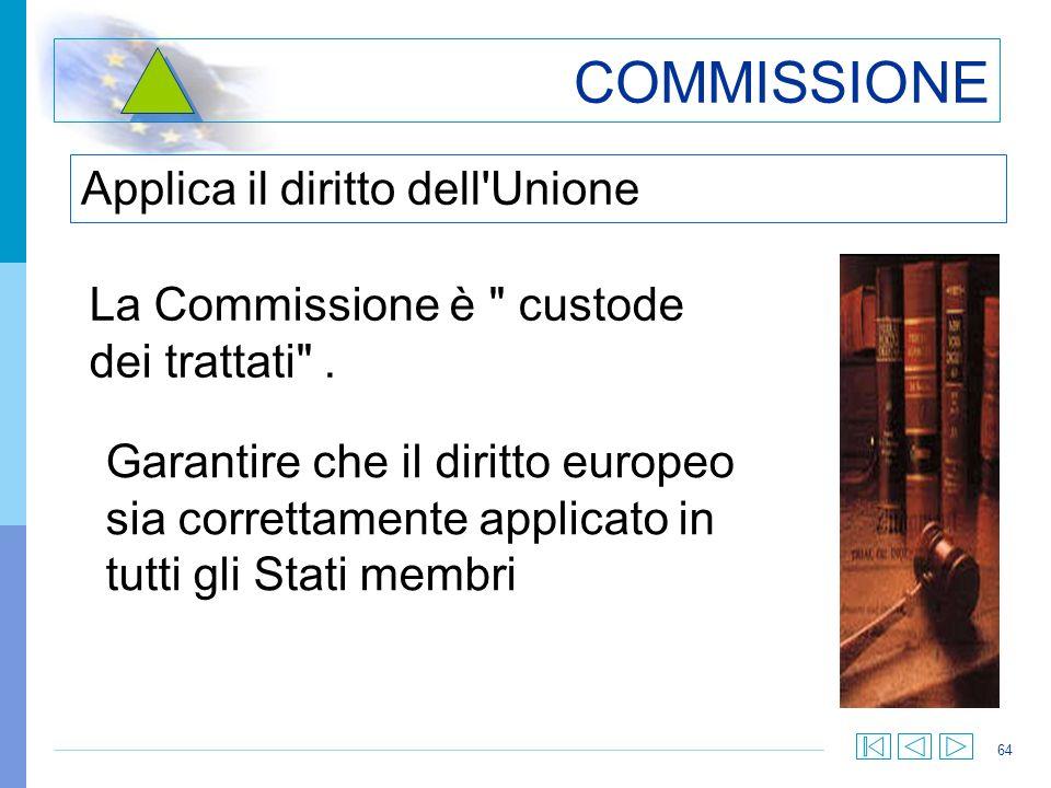 64 COMMISSIONE Applica il diritto dell'Unione La Commissione è