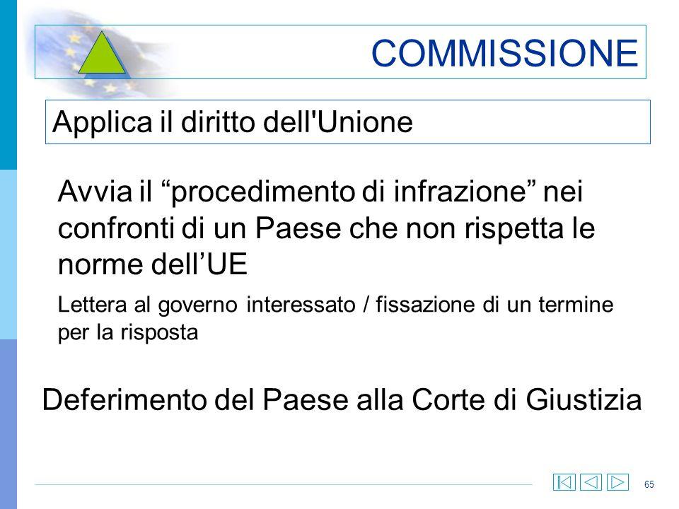 65 COMMISSIONE Applica il diritto dell'Unione Avvia il procedimento di infrazione nei confronti di un Paese che non rispetta le norme dellUE Lettera a