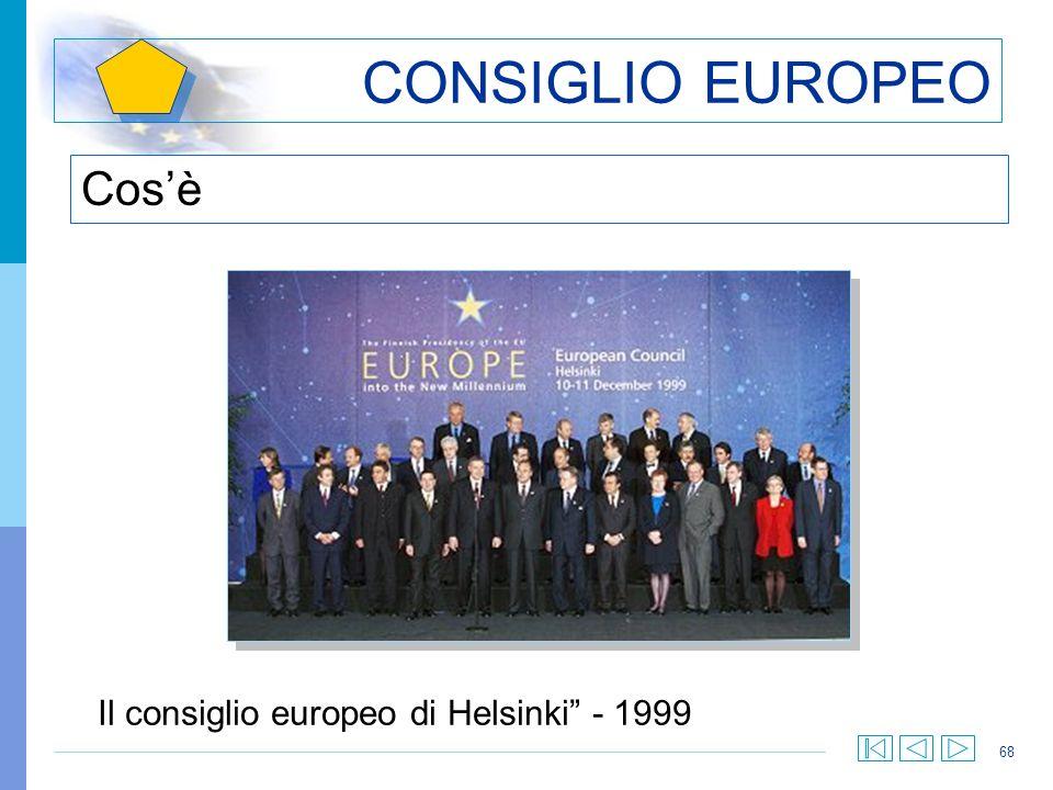 68 CONSIGLIO EUROPEO Cosè Il consiglio europeo di Helsinki - 1999