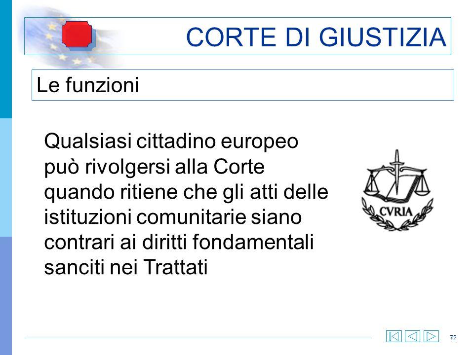 72 CORTE DI GIUSTIZIA Le funzioni Qualsiasi cittadino europeo può rivolgersi alla Corte quando ritiene che gli atti delle istituzioni comunitarie sian