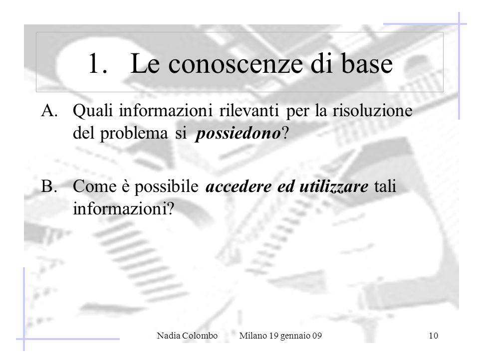 Nadia Colombo Milano 19 gennaio 0910 1.Le conoscenze di base A.Quali informazioni rilevanti per la risoluzione del problema si possiedono.