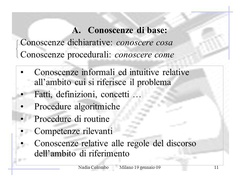 Nadia Colombo Milano 19 gennaio 0911 A. Conoscenze di base: Conoscenze dichiarative: conoscere cosa Conoscenze procedurali: conoscere come Conoscenze