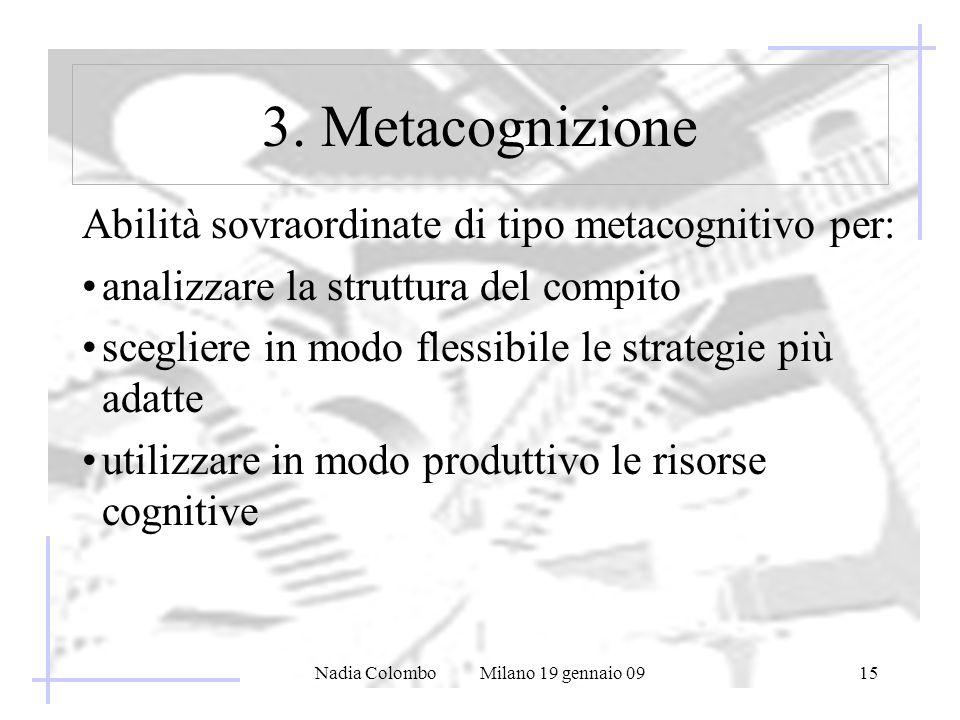 Nadia Colombo Milano 19 gennaio 0915 Abilità sovraordinate di tipo metacognitivo per: analizzare la struttura del compito scegliere in modo flessibile le strategie più adatte utilizzare in modo produttivo le risorse cognitive 3.