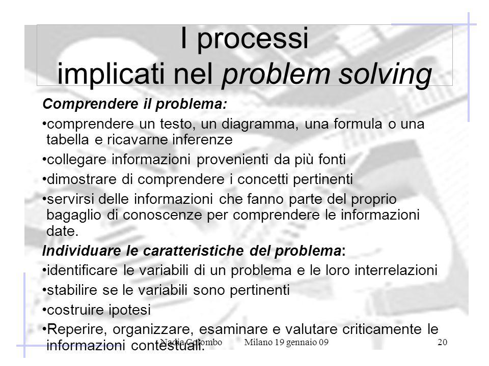 Nadia Colombo Milano 19 gennaio 0920 I processi implicati nel problem solving Comprendere il problema: comprendere un testo, un diagramma, una formula