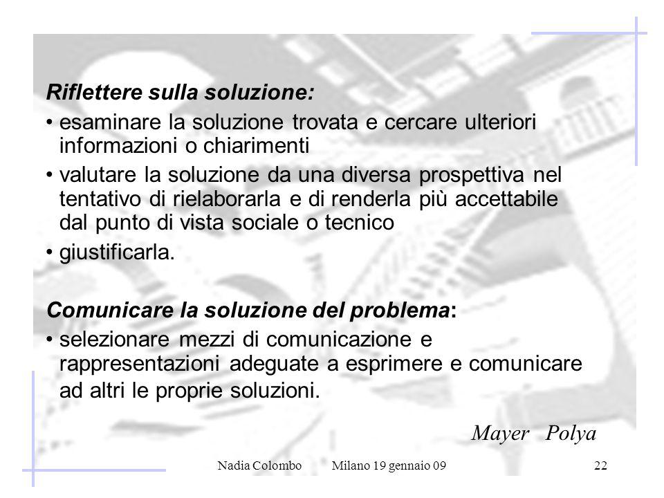 Nadia Colombo Milano 19 gennaio 0922 Riflettere sulla soluzione: esaminare la soluzione trovata e cercare ulteriori informazioni o chiarimenti valutar