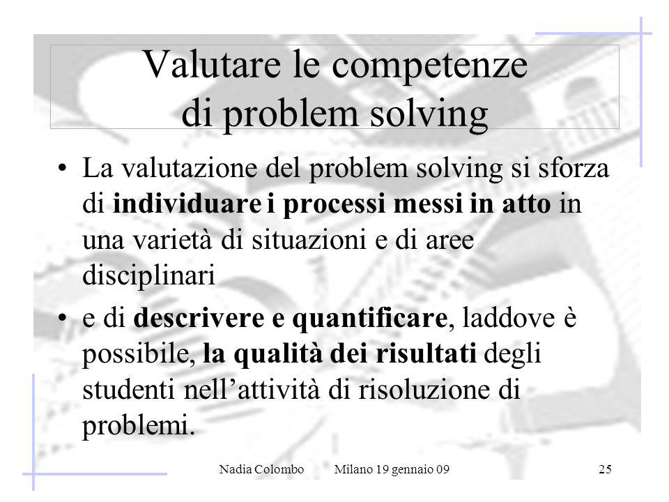 Nadia Colombo Milano 19 gennaio 0925 Valutare le competenze di problem solving La valutazione del problem solving si sforza di individuare i processi