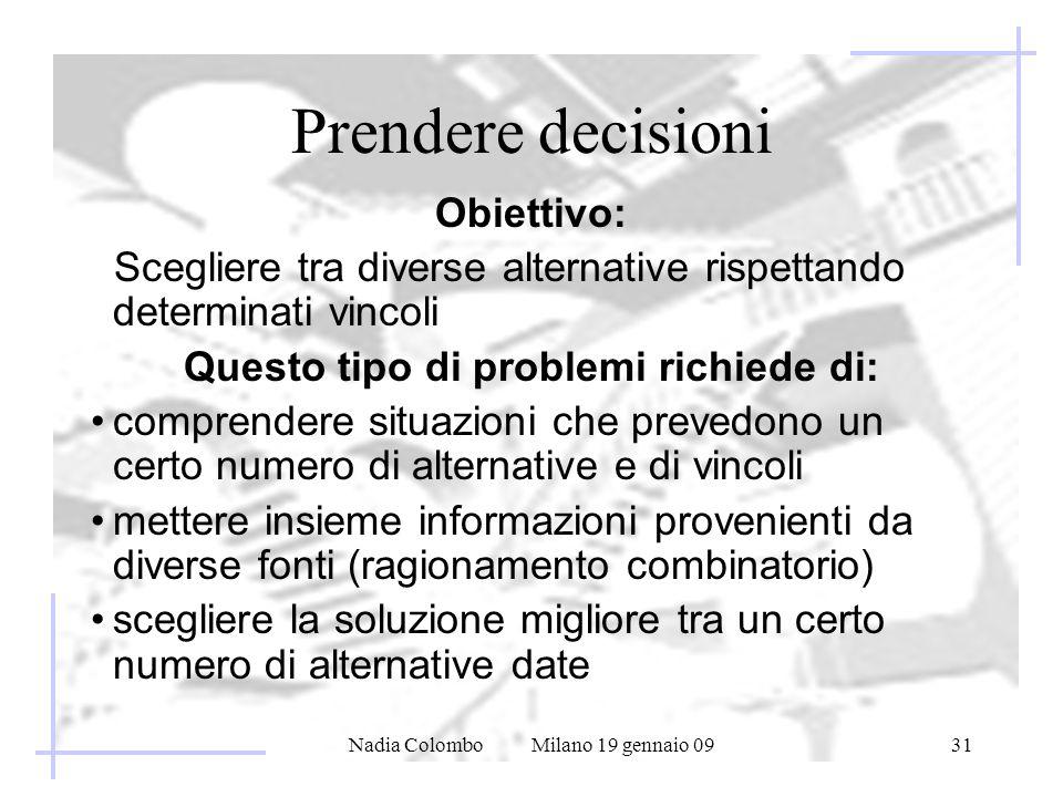 Nadia Colombo Milano 19 gennaio 0931 Prendere decisioni Obiettivo: Scegliere tra diverse alternative rispettando determinati vincoli Questo tipo di pr