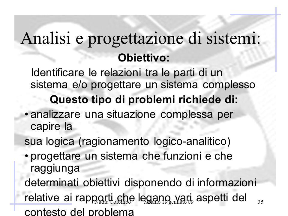 Nadia Colombo Milano 19 gennaio 0935 Analisi e progettazione di sistemi: Obiettivo: Identificare le relazioni tra le parti di un sistema e/o progettar