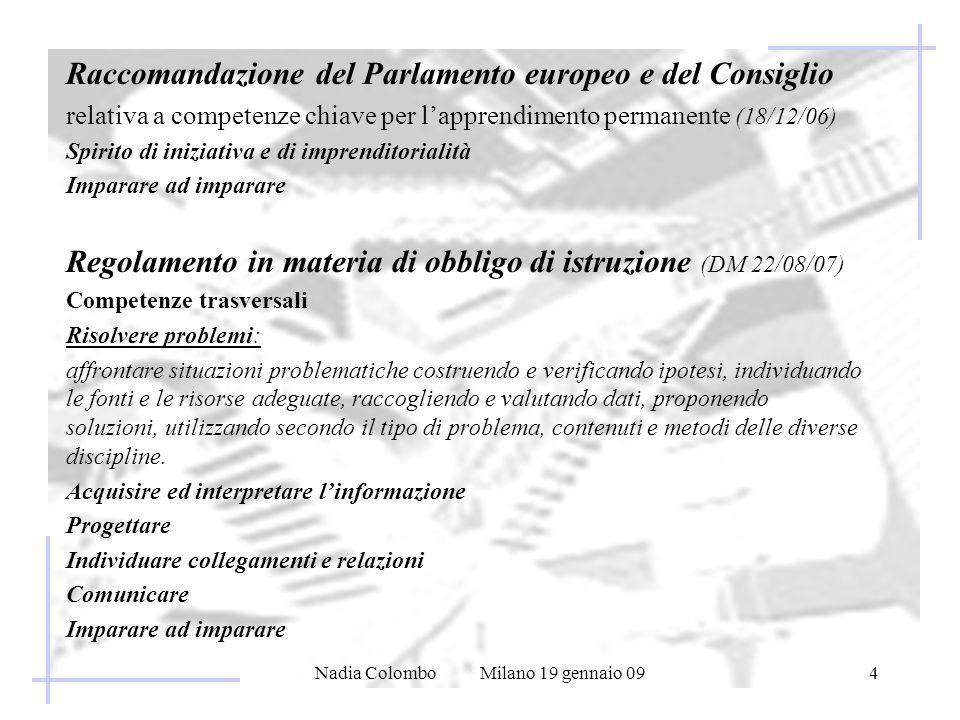 Nadia Colombo Milano 19 gennaio 094 Raccomandazione del Parlamento europeo e del Consiglio relativa a competenze chiave per lapprendimento permanente