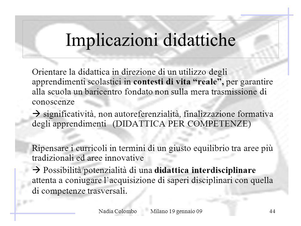 Nadia Colombo Milano 19 gennaio 0944 Implicazioni didattiche Orientare la didattica in direzione di un utilizzo degli apprendimenti scolastici in cont