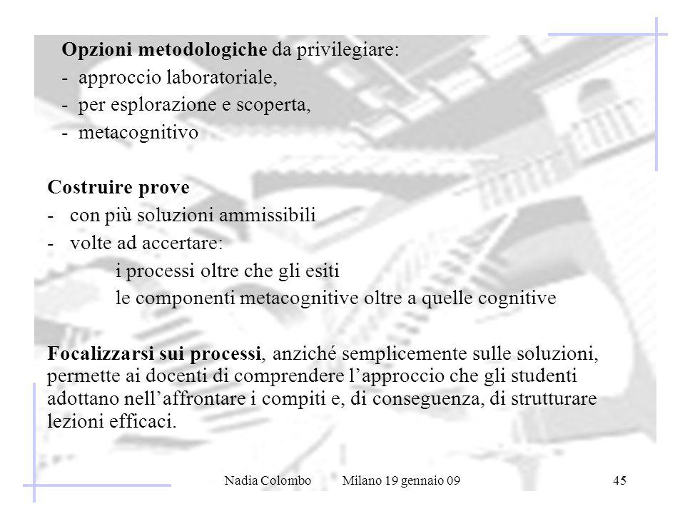 Nadia Colombo Milano 19 gennaio 0945 Opzioni metodologiche da privilegiare: - approccio laboratoriale, - per esplorazione e scoperta, - metacognitivo