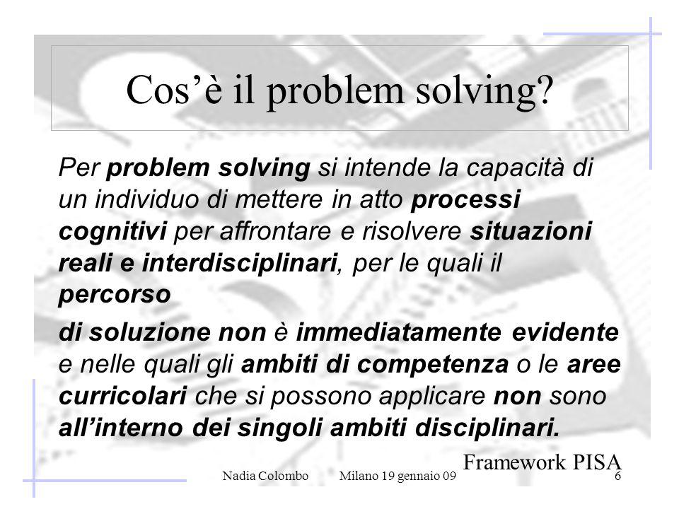 Nadia Colombo Milano 19 gennaio 096 Cosè il problem solving? Per problem solving si intende la capacità di un individuo di mettere in atto processi co
