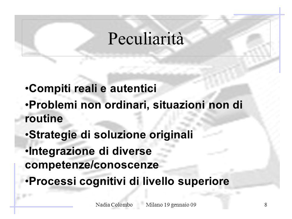 Nadia Colombo Milano 19 gennaio 098 Peculiarità Compiti reali e autentici Problemi non ordinari, situazioni non di routine Strategie di soluzione orig