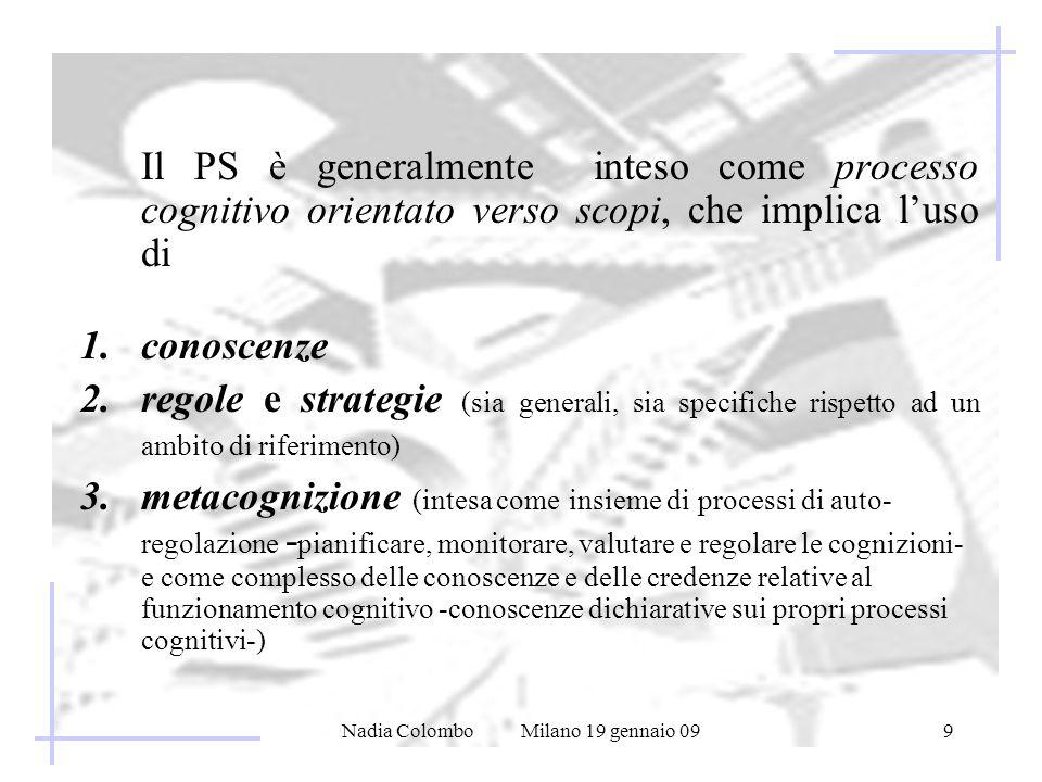 Nadia Colombo Milano 19 gennaio 099 Il PS è generalmente inteso come processo cognitivo orientato verso scopi, che implica luso di 1.conoscenze 2.regole e strategie (sia generali, sia specifiche rispetto ad un ambito di riferimento) 3.metacognizione (intesa come insieme di processi di auto- regolazione - pianificare, monitorare, valutare e regolare le cognizioni- e come complesso delle conoscenze e delle credenze relative al funzionamento cognitivo -conoscenze dichiarative sui propri processi cognitivi-)