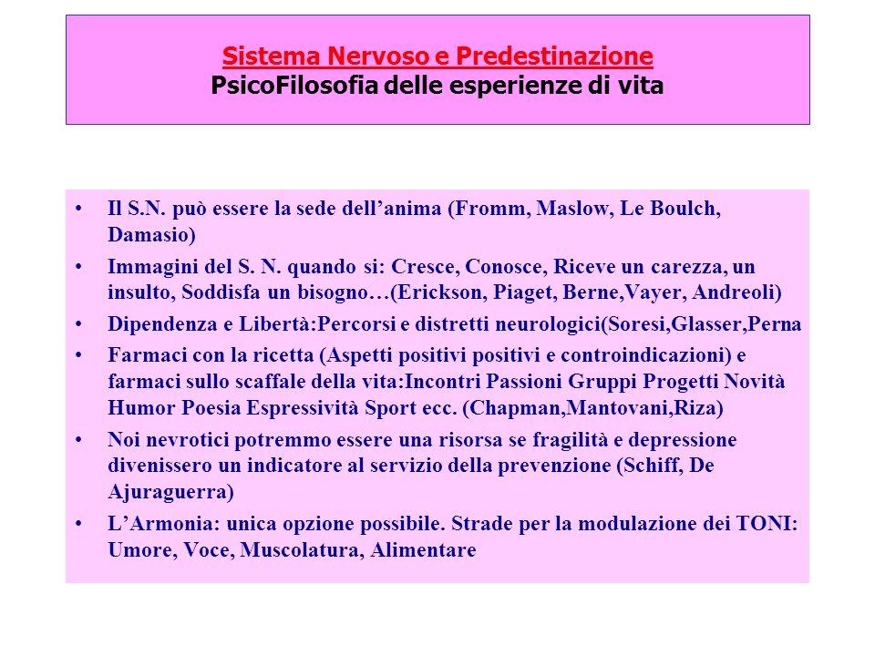 Sistema Nervoso e Predestinazione PsicoFilosofia delle esperienze di vita Il S.N. può essere la sede dellanima (Fromm, Maslow, Le Boulch, Damasio) Imm