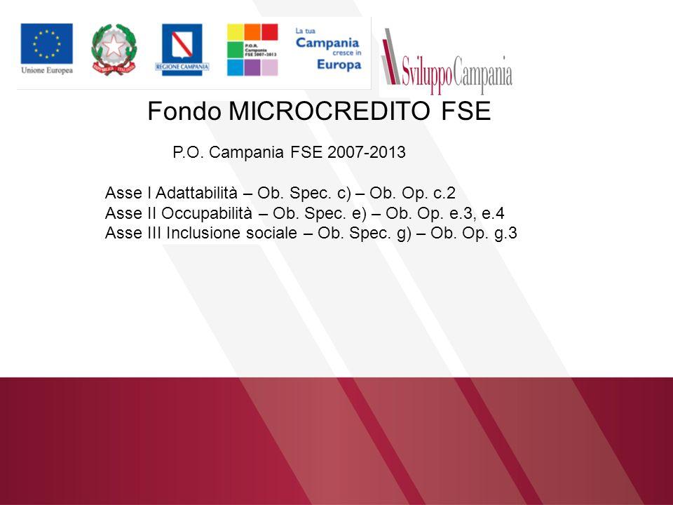 Fondo MICROCREDITO FSE P.O. Campania FSE 2007-2013 Asse I Adattabilità – Ob. Spec. c) – Ob. Op. c.2 Asse II Occupabilità – Ob. Spec. e) – Ob. Op. e.3,