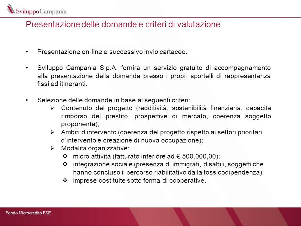 Fondo Microcredito FSE Presentazione delle domande e criteri di valutazione Presentazione on-line e successivo invio cartaceo. Sviluppo Campania S.p.A