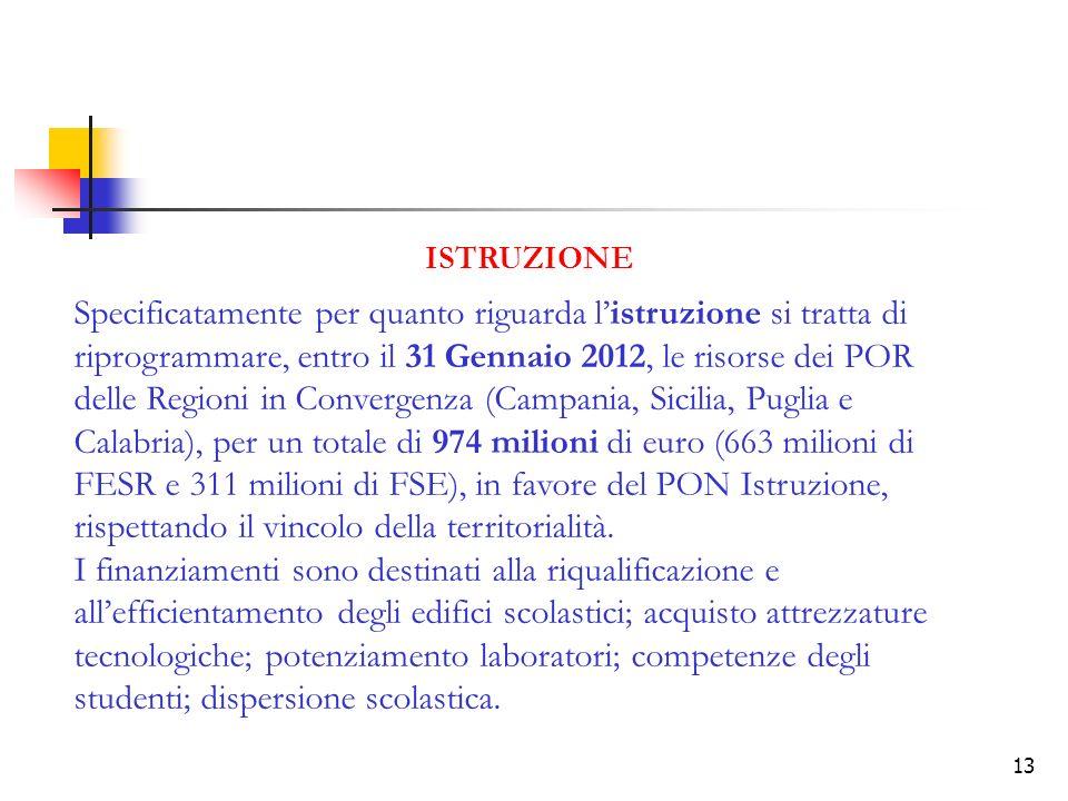 13 ISTRUZIONE Specificatamente per quanto riguarda listruzione si tratta di riprogrammare, entro il 31 Gennaio 2012, le risorse dei POR delle Regioni in Convergenza (Campania, Sicilia, Puglia e Calabria), per un totale di 974 milioni di euro (663 milioni di FESR e 311 milioni di FSE), in favore del PON Istruzione, rispettando il vincolo della territorialità.