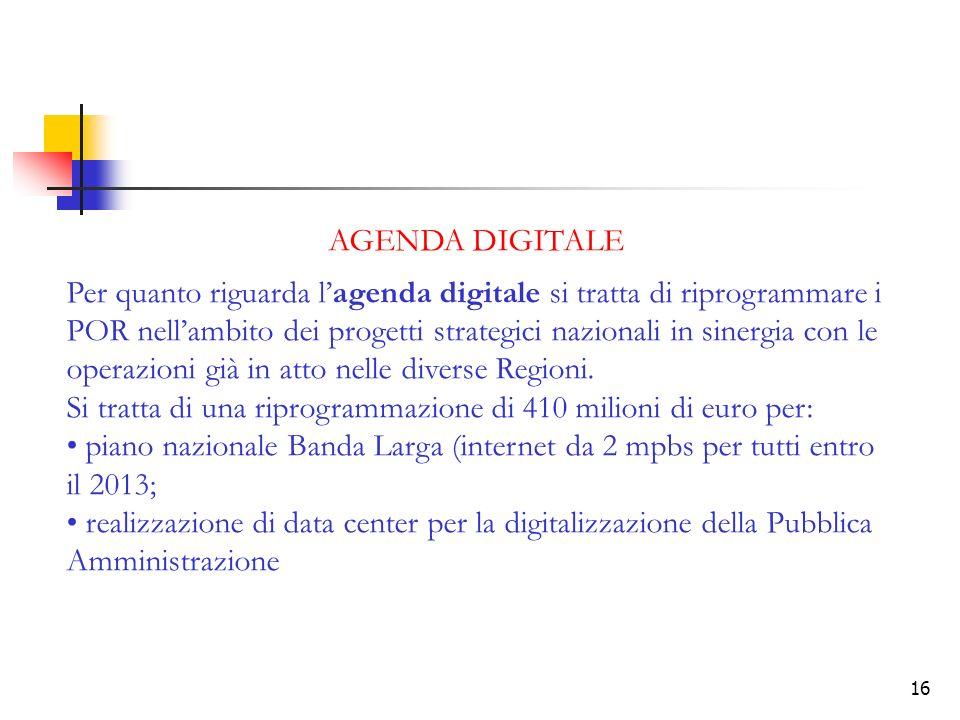 16 AGENDA DIGITALE Per quanto riguarda lagenda digitale si tratta di riprogrammare i POR nellambito dei progetti strategici nazionali in sinergia con le operazioni già in atto nelle diverse Regioni.