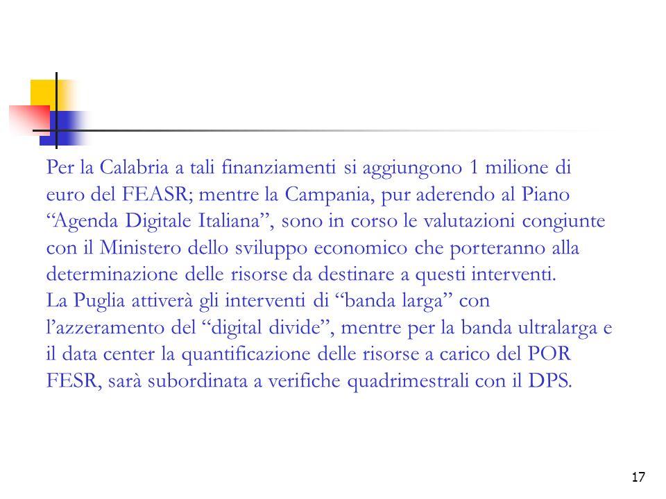 17 Per la Calabria a tali finanziamenti si aggiungono 1 milione di euro del FEASR; mentre la Campania, pur aderendo al Piano Agenda Digitale Italiana, sono in corso le valutazioni congiunte con il Ministero dello sviluppo economico che porteranno alla determinazione delle risorse da destinare a questi interventi.
