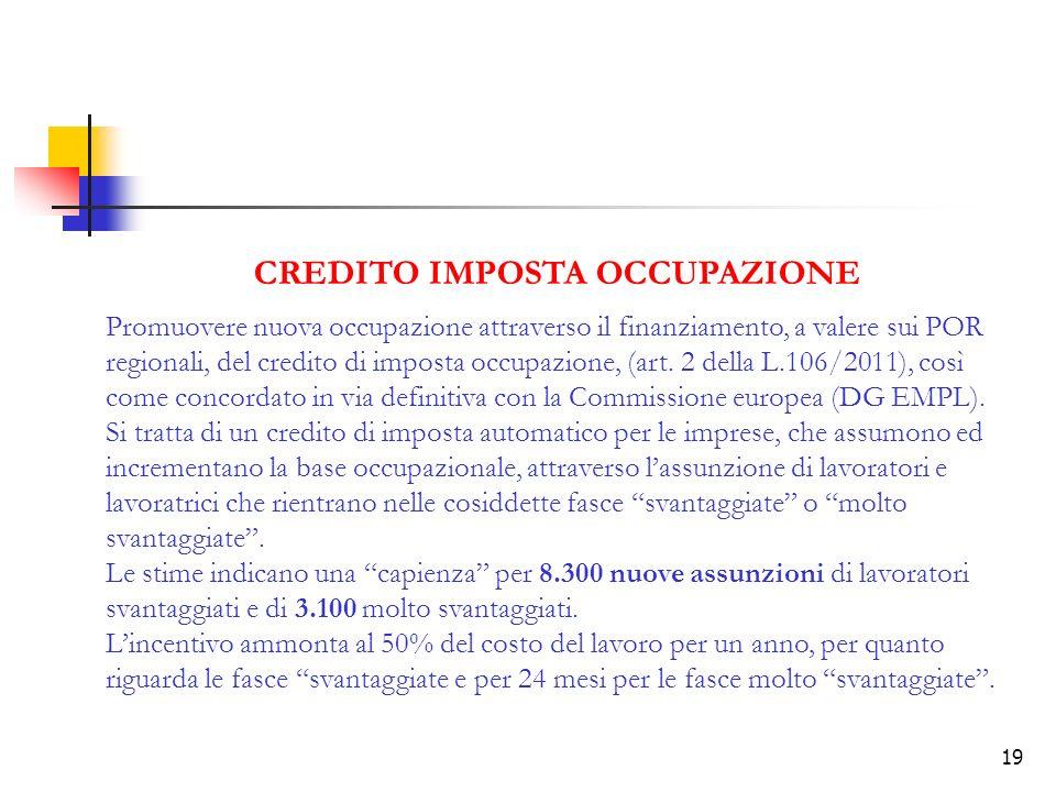 19 CREDITO IMPOSTA OCCUPAZIONE Promuovere nuova occupazione attraverso il finanziamento, a valere sui POR regionali, del credito di imposta occupazione, (art.