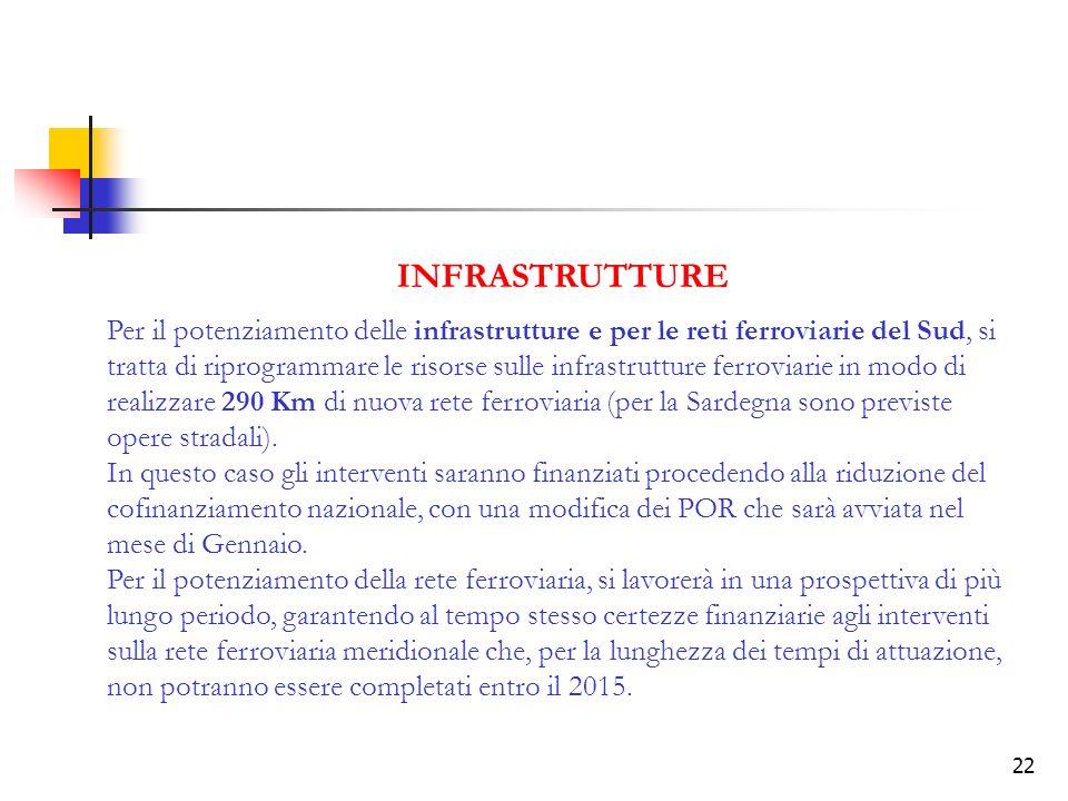 22 INFRASTRUTTURE Per il potenziamento delle infrastrutture e per le reti ferroviarie del Sud, si tratta di riprogrammare le risorse sulle infrastrutture ferroviarie in modo di realizzare 290 Km di nuova rete ferroviaria (per la Sardegna sono previste opere stradali).