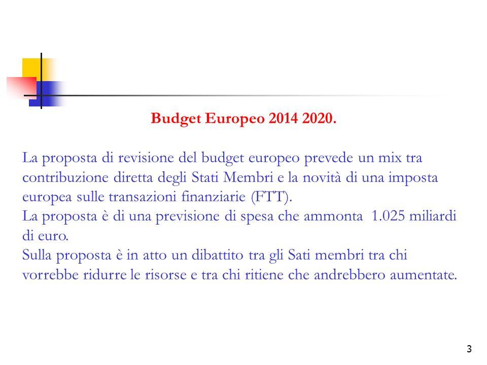 3 Budget Europeo 2014 2020. La proposta di revisione del budget europeo prevede un mix tra contribuzione diretta degli Stati Membri e la novità di una