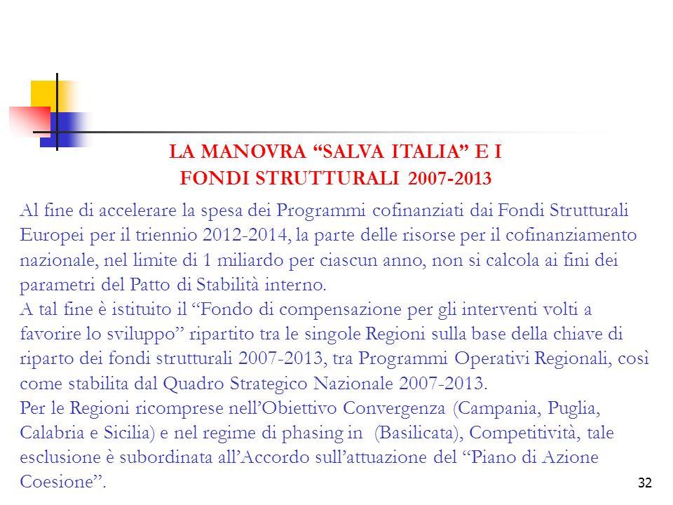 32 LA MANOVRA SALVA ITALIA E I FONDI STRUTTURALI 2007-2013 Al fine di accelerare la spesa dei Programmi cofinanziati dai Fondi Strutturali Europei per il triennio 2012-2014, la parte delle risorse per il cofinanziamento nazionale, nel limite di 1 miliardo per ciascun anno, non si calcola ai fini dei parametri del Patto di Stabilità interno.