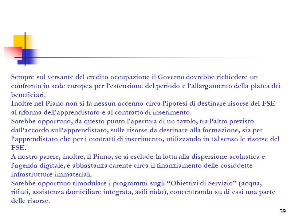 39 Sempre sul versante del credito occupazione il Governo dovrebbe richiedere un confronto in sede europea per lestensione del periodo e lallargamento