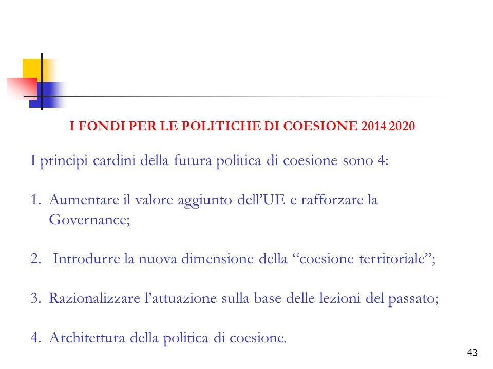 43 I FONDI PER LE POLITICHE DI COESIONE 2014 2020 I principi cardini della futura politica di coesione sono 4: 1.Aumentare il valore aggiunto dellUE e rafforzare la Governance; 2.
