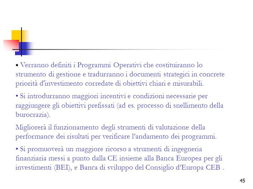 45 Verranno definiti i Programmi Operativi che costituiranno lo strumento di gestione e tradurranno i documenti strategici in concrete priorità d'inve