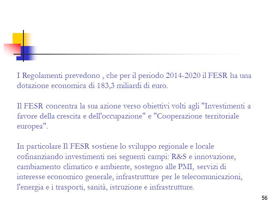 56 I Regolamenti prevedono, che per il periodo 2014-2020 il FESR ha una dotazione economica di 183,3 miliardi di euro. Il FESR concentra la sua azione