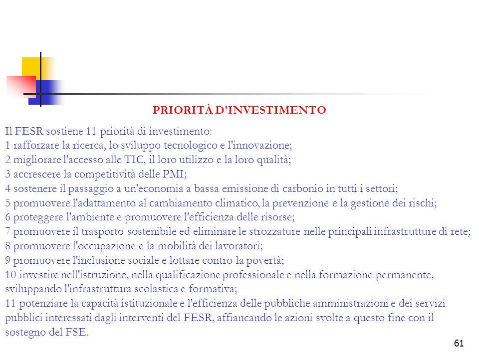 61 PRIORITÀ D'INVESTIMENTO Il FESR sostiene 11 priorità di investimento: 1 rafforzare la ricerca, lo sviluppo tecnologico e l'innovazione; 2 migliorar
