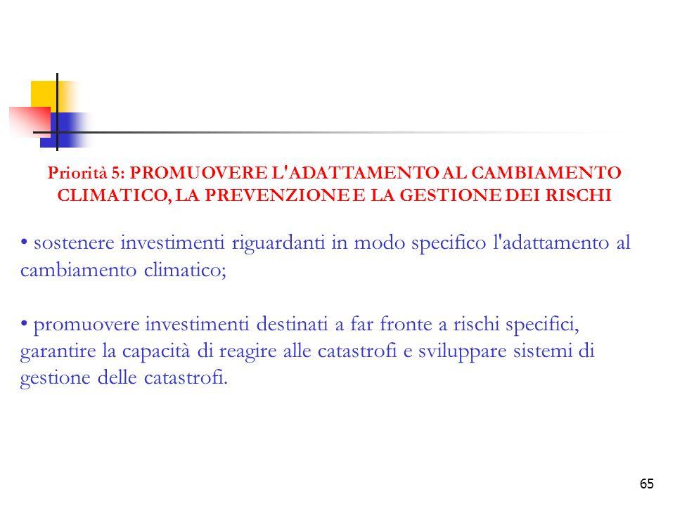 65 Priorità 5: PROMUOVERE L'ADATTAMENTO AL CAMBIAMENTO CLIMATICO, LA PREVENZIONE E LA GESTIONE DEI RISCHI sostenere investimenti riguardanti in modo s
