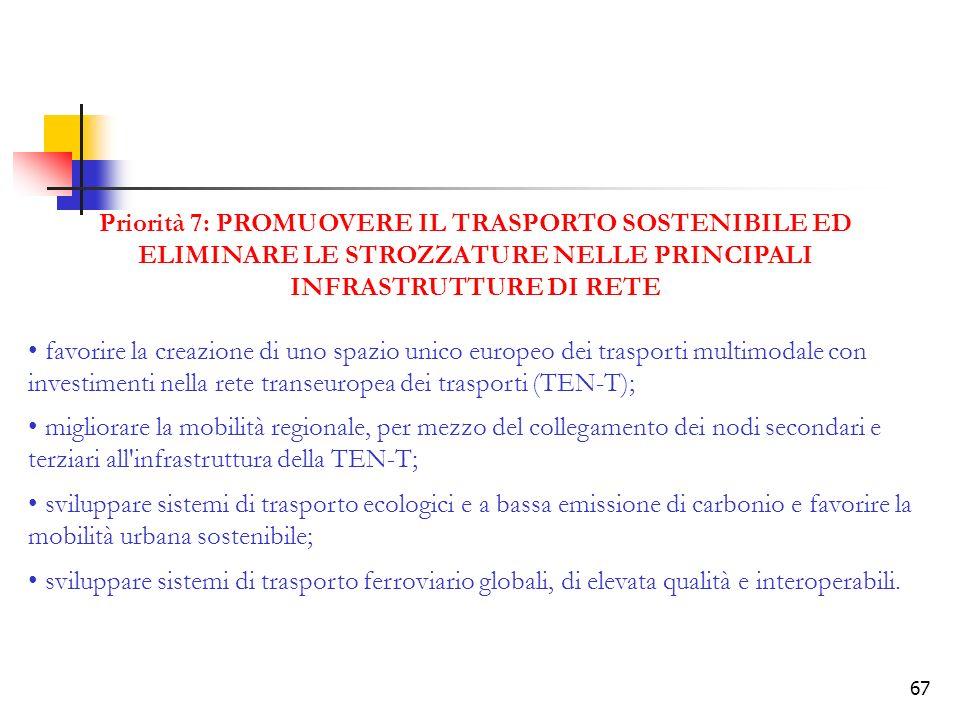 67 Priorità 7: PROMUOVERE IL TRASPORTO SOSTENIBILE ED ELIMINARE LE STROZZATURE NELLE PRINCIPALI INFRASTRUTTURE DI RETE favorire la creazione di uno spazio unico europeo dei trasporti multimodale con investimenti nella rete transeuropea dei trasporti (TEN-T); migliorare la mobilità regionale, per mezzo del collegamento dei nodi secondari e terziari all infrastruttura della TEN-T; sviluppare sistemi di trasporto ecologici e a bassa emissione di carbonio e favorire la mobilità urbana sostenibile; sviluppare sistemi di trasporto ferroviario globali, di elevata qualità e interoperabili.
