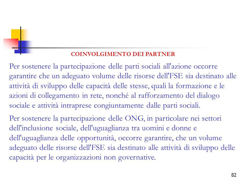 82 COINVOLGIMENTO DEI PARTNER Per sostenere la partecipazione delle parti sociali all'azione occorre garantire che un adeguato volume delle risorse de