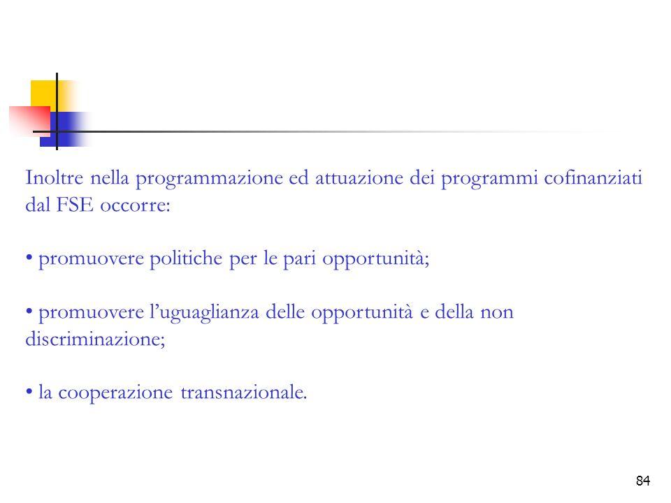 84 Inoltre nella programmazione ed attuazione dei programmi cofinanziati dal FSE occorre: promuovere politiche per le pari opportunità; promuovere lug