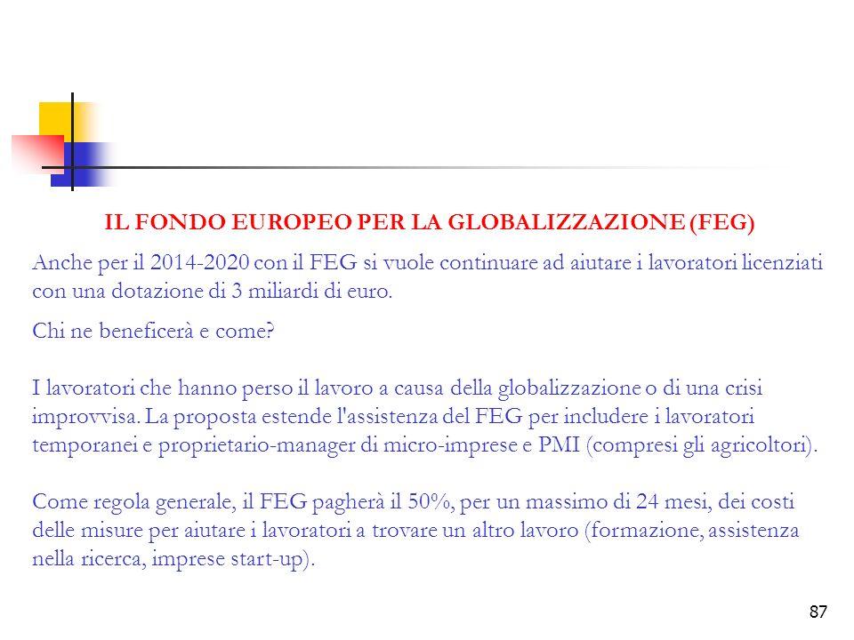 87 IL FONDO EUROPEO PER LA GLOBALIZZAZIONE (FEG) Anche per il 2014-2020 con il FEG si vuole continuare ad aiutare i lavoratori licenziati con una dotazione di 3 miliardi di euro.