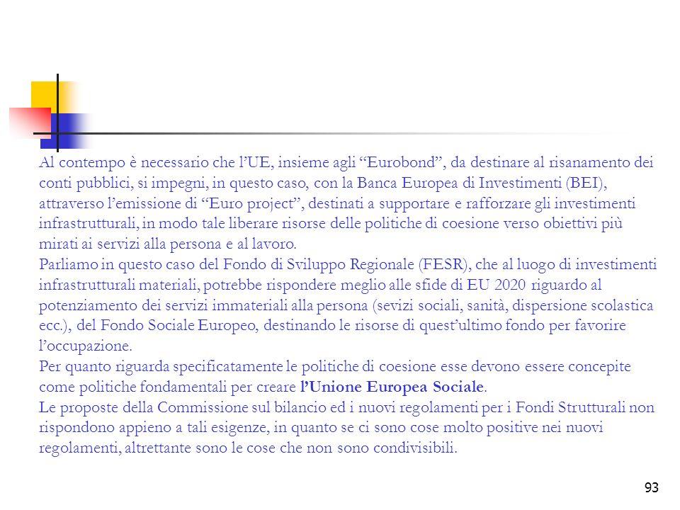93 Al contempo è necessario che lUE, insieme agli Eurobond, da destinare al risanamento dei conti pubblici, si impegni, in questo caso, con la Banca E