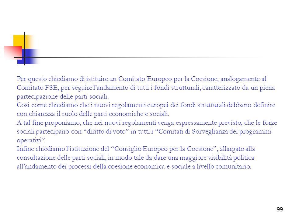 99 Per questo chiediamo di istituire un Comitato Europeo per la Coesione, analogamente al Comitato FSE, per seguire landamento di tutti i fondi strutt