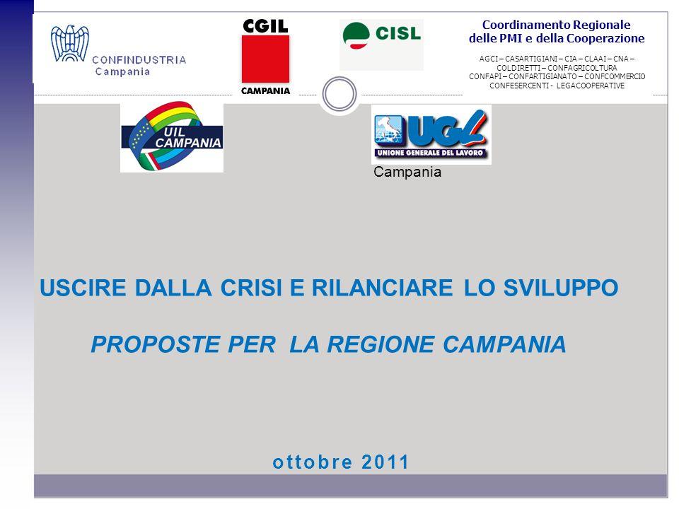 ottobre 2011 USCIRE DALLA CRISI E RILANCIARE LO SVILUPPO PROPOSTE PER LA REGIONE CAMPANIA Coordinamento Regionale delle PMI e della Cooperazione AGCI