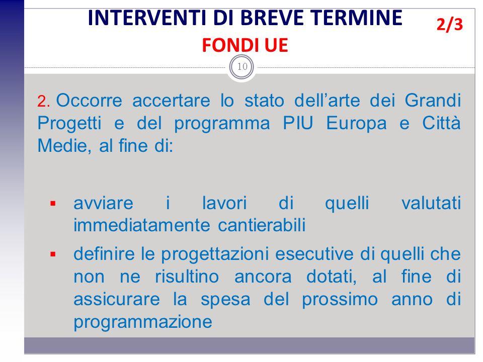 2. Occorre accertare lo stato dellarte dei Grandi Progetti e del programma PIU Europa e Città Medie, al fine di: avviare i lavori di quelli valutati i