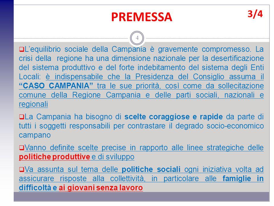 PREMESSA 3/4 4 Lequilibrio sociale della Campania è gravemente compromesso. La crisi della regione ha una dimensione nazionale per la desertificazione