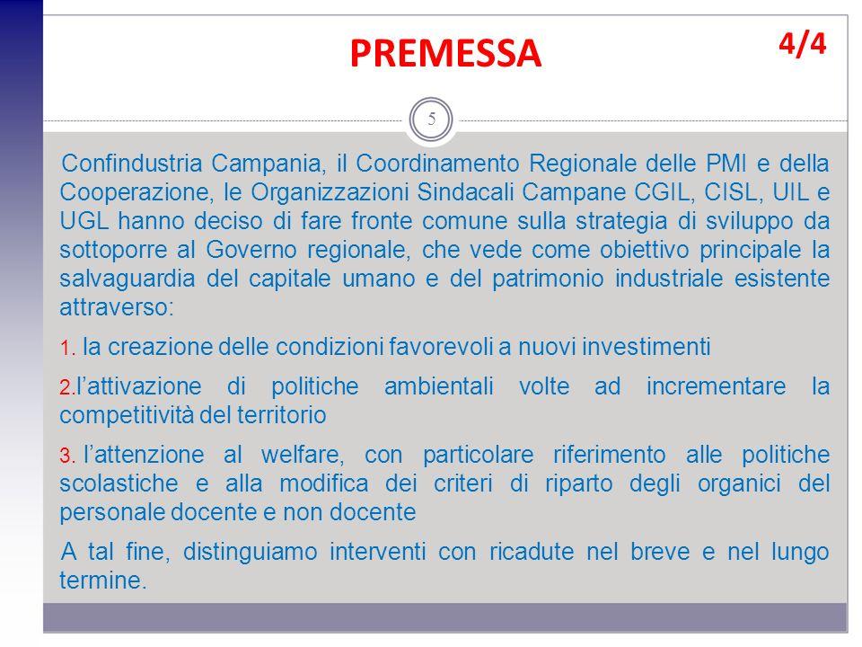 PREMESSA Confindustria Campania, il Coordinamento Regionale delle PMI e della Cooperazione, le Organizzazioni Sindacali Campane CGIL, CISL, UIL e UGL